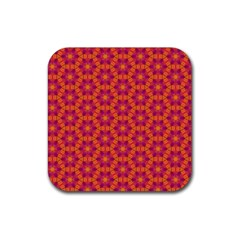 Pattern Abstract Floral Bright Rubber Square Coaster (4 Pack)  by Nexatart