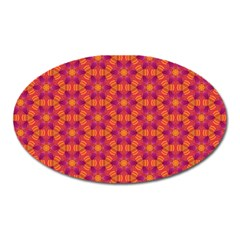 Pattern Abstract Floral Bright Oval Magnet