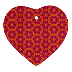 Pattern Abstract Floral Bright Heart Ornament (two Sides)