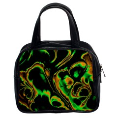 Glowing Fractal A Classic Handbags (2 Sides) by Fractalworld