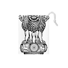 National Emblem Of India  Drawstring Pouches (small)  by abbeyz71