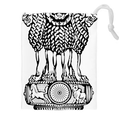 National Emblem Of India  Drawstring Pouches (xxl) by abbeyz71