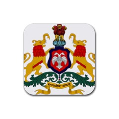 State Seal Of Karnataka Rubber Coaster (square)  by abbeyz71