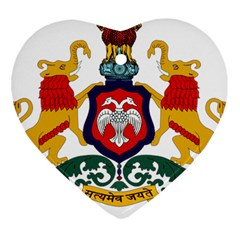 State Seal Of Karnataka Heart Ornament (two Sides) by abbeyz71