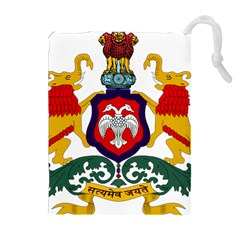 State Seal Of Karnataka Drawstring Pouches (extra Large) by abbeyz71
