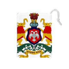 State Seal Of Karnataka Drawstring Pouches (medium)  by abbeyz71