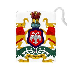 State Seal Of Karnataka Drawstring Pouches (large)  by abbeyz71