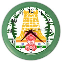 Seal Of Indian State Of Tamil Nadu  Color Wall Clocks by abbeyz71