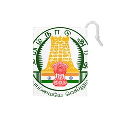 Seal Of Indian State Of Tamil Nadu  Drawstring Pouches (small)  by abbeyz71