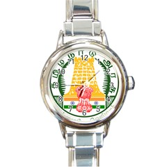 Seal Of Indian State Of Tamil Nadu  Round Italian Charm Watch by abbeyz71