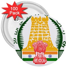 Seal Of Indian State Of Tamil Nadu  3  Buttons (100 Pack)  by abbeyz71