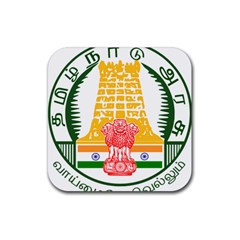 Seal Of Indian State Of Tamil Nadu  Rubber Coaster (square)  by abbeyz71