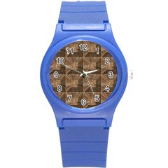 Collage Stone Wall Texture Round Plastic Sport Watch (s) by Nexatart