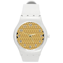 Wood Illustrator Yellow Brown Round Plastic Sport Watch (m) by Nexatart