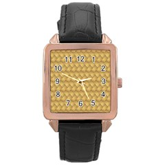 Wood Illustrator Yellow Brown Rose Gold Leather Watch  by Nexatart