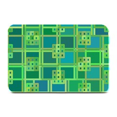 Green Abstract Geometric Plate Mats