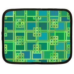 Green Abstract Geometric Netbook Case (xl)  by Nexatart