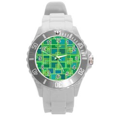 Green Abstract Geometric Round Plastic Sport Watch (l) by Nexatart