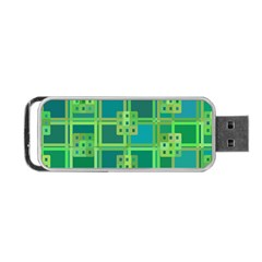 Green Abstract Geometric Portable Usb Flash (one Side)