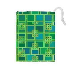 Green Abstract Geometric Drawstring Pouches (large)