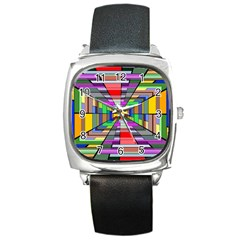 Art Vanishing Point Vortex 3d Square Metal Watch