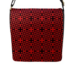 Abstract Background Red Black Flap Messenger Bag (l)
