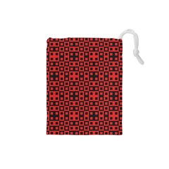 Abstract Background Red Black Drawstring Pouches (small)  by Nexatart