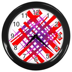 Chaos Bright Gradient Red Blue Wall Clocks (black) by Nexatart
