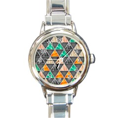 Abstract Geometric Triangle Shape Round Italian Charm Watch by Nexatart