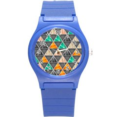 Abstract Geometric Triangle Shape Round Plastic Sport Watch (s) by Nexatart