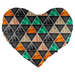Abstract Geometric Triangle Shape Large 19  Premium Flano Heart Shape Cushions by Nexatart
