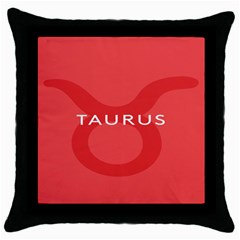 Zodizc Taurus Red Throw Pillow Case (black) by Mariart