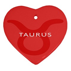 Zodizc Taurus Red Heart Ornament (two Sides) by Mariart