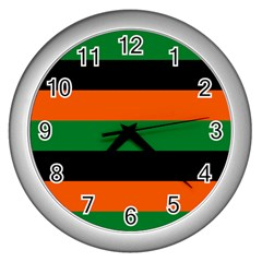 Color Green Orange Black Wall Clocks (silver)  by Mariart