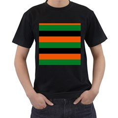 Color Green Orange Black Men s T-shirt (black) (two Sided) by Mariart