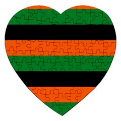 Color Green Orange Black Jigsaw Puzzle (heart) by Mariart