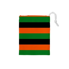 Color Green Orange Black Drawstring Pouches (small)  by Mariart