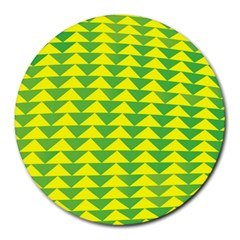 Arrow Triangle Green Yellow Round Mousepads by Mariart