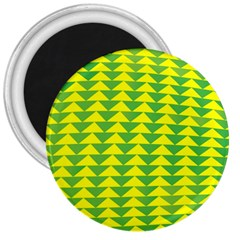 Arrow Triangle Green Yellow 3  Magnets by Mariart