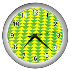 Arrow Triangle Green Yellow Wall Clocks (silver)  by Mariart