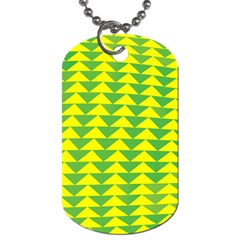Arrow Triangle Green Yellow Dog Tag (two Sides) by Mariart
