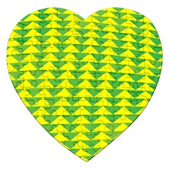 Arrow Triangle Green Yellow Jigsaw Puzzle (heart) by Mariart