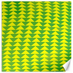 Arrow Triangle Green Yellow Canvas 12  X 12