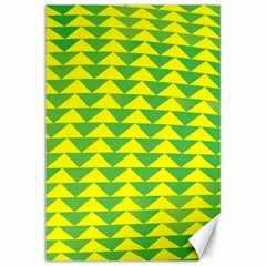 Arrow Triangle Green Yellow Canvas 12  X 18   by Mariart