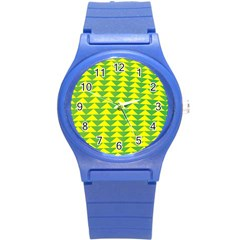 Arrow Triangle Green Yellow Round Plastic Sport Watch (s) by Mariart
