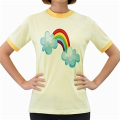 Could Rainbow Red Yellow Green Blue Purple Women s Fitted Ringer T Shirts by Mariart