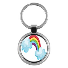 Could Rainbow Red Yellow Green Blue Purple Key Chains (round)  by Mariart