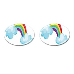 Could Rainbow Red Yellow Green Blue Purple Cufflinks (oval) by Mariart