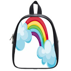 Could Rainbow Red Yellow Green Blue Purple School Bags (small)  by Mariart