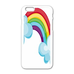 Could Rainbow Red Yellow Green Blue Purple Apple Iphone 6/6s White Enamel Case by Mariart